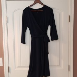 Navy faux wrap dress